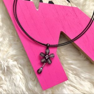 Purple Flower Necklace on Leather Cord